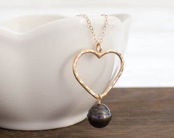 Simple Heart and Tahitian Pearl Necklace, Handmade, Layering, 14k Gold Filled, Simply Me Jewelry Love, Pearl Necklace, SMJNK426