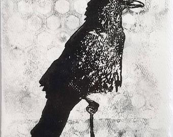 Monoprint No.13, Crow original art