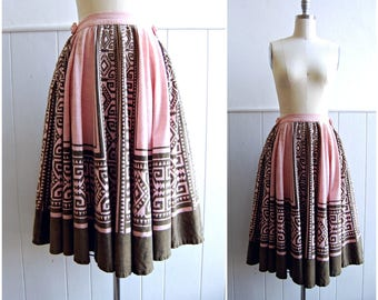 1950s Mexican Pink and Brown Cotton Full Circle Skirt // Medium