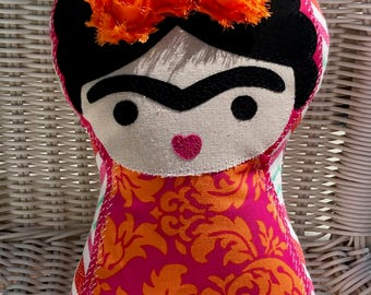 Little FRIDA KAHLO PILLOW Doll Pink and Orange Damask Ready-to-Ship