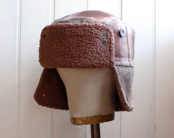 Furry Russian M: Furry earflap hat, russian army hat, trapper hat, trooper hat, bomber hat, ushanka, soviet military hat, upcycled fabric