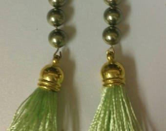 Green pearl and tassel earrings