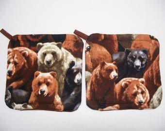 Bear Country Pot Holders, Set of 2, Hot Pads, Trivets, Insulated Potholders, Potholders, Brown