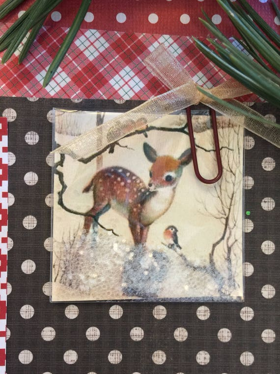 "Planner Shaker Fawn Deer , Squirrel and Little Birds Card 2"" x 2"""