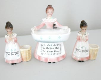 Lot of 3 Prayer Lady Figures, Scouring Pad Holder, Toothpick Holders, Vintage Enesco Kitchen Ladies