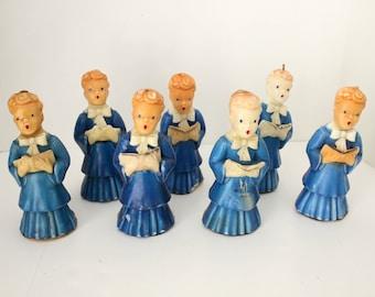"7 Gurley Candles Blue Choir Boys 7"" Tall, Vintage Christmas Robed Carolers"