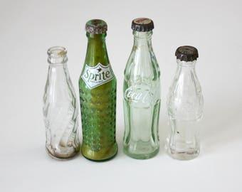 4 Glass Mini Coca Cola Sprite Pepsi Bottles, Vintage Advertising Soda Pop