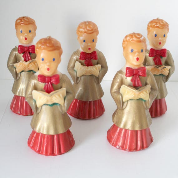"5 Choir Boy Vintage Gurley Candles 7"" Tall, Christmas Gold Robed Caroler"