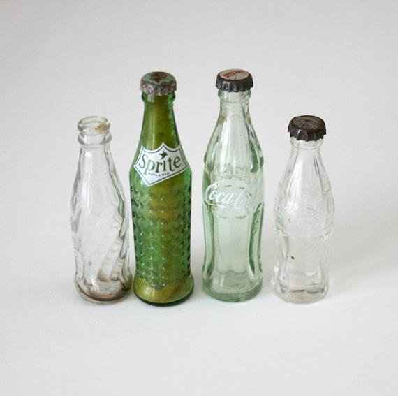 4 Vintage Glass Mini Coca Cola Sprite Pepsi Bottles Advertising Soda Pop