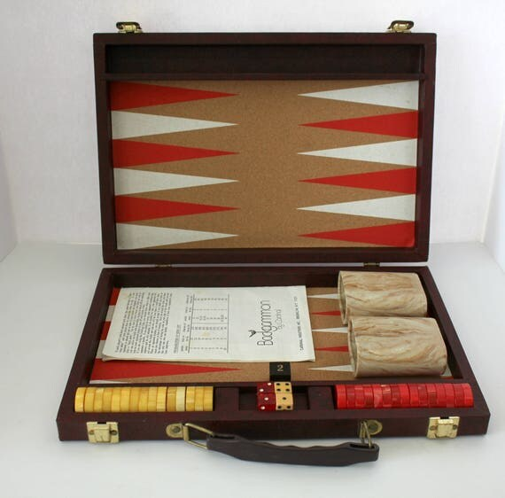 Vintage Cardinal Backgammon Set w/ Bakelite Swirl Catalin Red Yellow Chips from 1960s, Cork Game Board