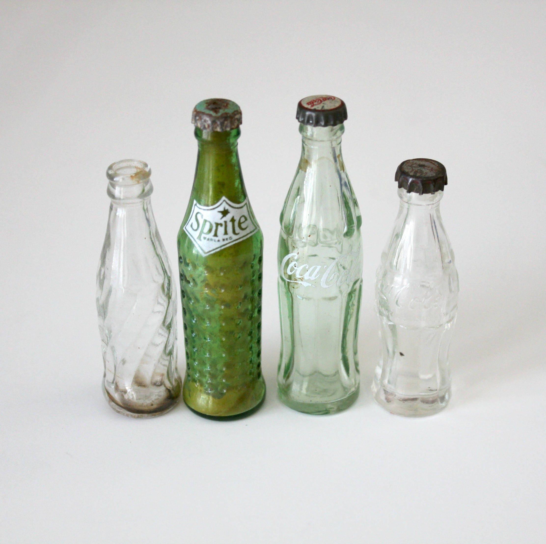 4 Vintage Glass Mini Coca Cola Sprite Pepsi Bottles