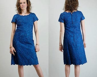 SALE 25% off sundays Dark Blue Lace Sheath Vintage Midnight Blue 50s Silk + Lace Overlay Fitted Sheath Dress (s)