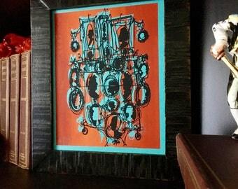 CAMEOS #056   metallic copper and bold black quirky handmade art print on aqua blue (8x10)