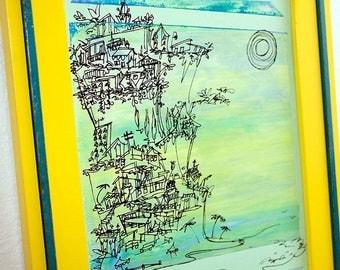 CLIFFHANGER #05 art print of the California coast in soft blues on mint green (8x10)