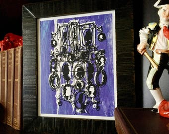 CAMEOS #071   royal purple screenprint poster, retro mod silhouettes (8x10)