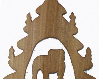 Bulldog Silhouette Ornament, Christmas Tree Ornament, Holiday Decoration, Pet Lover's Tree Decoration