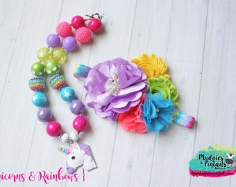 Chunky Necklace or Headband { Unicorns & Rainbows } pink, lavender, yellow, turquoise Summer, First birthday Cake smash photography prop