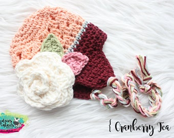 Crochet baby girl flower hat { Cranberry Tea } cream, cranberry, peach Earflap, cake smash, fall, newborn baby shower gift, photography prop