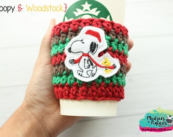 Peanuts Gang Christmas Coffee Cozy { Snoopy Woodstock } red green, crochet, movie, holidays gift cozy, crochet knit mug sleeve