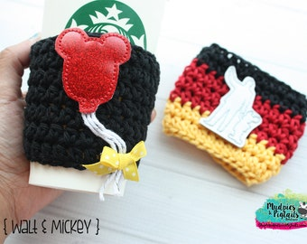Crochet Coffee Sleeve { Walt & Mickey } classic minnie black, red balloon, started with a mouse, cup cozy, knit mug sweater, mug holder