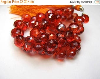 ON  SALE Orange Hydro Quartz Gemstone. Faceted Onion Briolettes. 7mm. Pairs or Non Match 1 - 5 Briolettes  (6hqr).