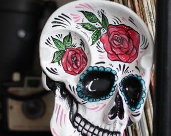 Sugar skull jewelry tray / dish / Dia de los Muertos