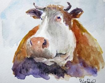 "Cowabunga - cow art print, barnyard art, 8""x10"" print"