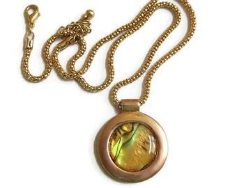 Vintage Golden Dichroic Glass Pendant Necklace