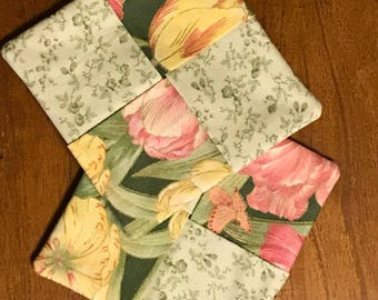 """Set of 2 Coasters, Tulip Coasters, 4""""x4"""", green and pink Coasters, Four Patch Coasters"""