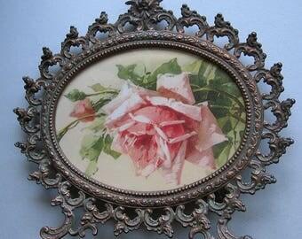 Roses, Print, Catherine Klein, Cupid, Frame, Cupid, Art Print, Shabby Chic, C Klein, Rose, Rosebuds, Antique Frame