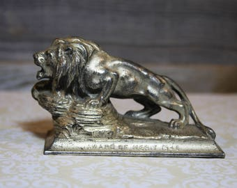 Vintage LION'S CLUB 1946 Paperweight Award- Silver Colored- Office Decor- Man Cave- Distressed Patina