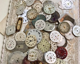 Vintage WATCH Faces (20) Steampunk Jewelry Supply- Small Watch Face- Mixed Media Supply- Altered Art Supply- Clock Parts- B11