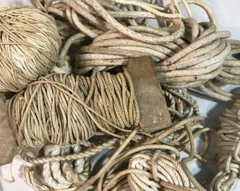 Lot of Vintage String & Twine- White Beige Brown- Jute FIBER Arts Supply- Handmade Craft Supply- E29