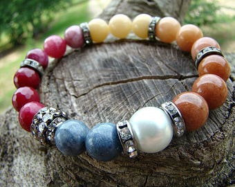 Bohemian Style Gemstone Beaded Stretch Bracelet, Gemstone Bracelet, Boho Bracelet, Bohemian Jewelry, Boho Chic, Stretch Bracelet, Stacking
