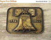 Liberty Bell Belt Buckle Bicentennial Distressed 1976 Vintage Retro 1970s Americana
