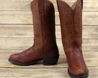 Mens 7 D Cowboy Boots Brown Leather Western Rockabilly Country Shoes Durango
