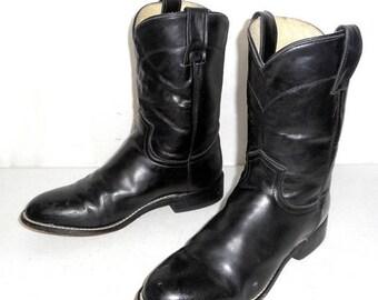 Black Justin Roper cowboy boots young mens size 4 D / womens sz 5.5 western boho