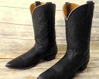 Mens 13 AA Nocona Black Leather Cowboy Boots Rockabilly Western 2A Narrow Biker