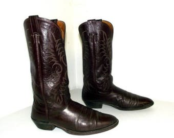 Deep Burgandy Brown leather Nocona Cowboy boots size 9.5 B