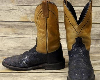 Distressed Cowboy Boots Mens Size 10 D Dan Post Black Tan Country Western Shoes