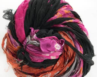 Sari Silk Ribbon, Reclaimed, Recycled, Fair Trade, Skein no. 324, 70 yds.