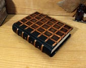 Dark Brown Leather Journal with Copper Latticework and Antiqued Pages. The Passage.