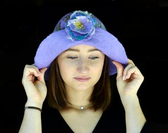 Unique Felt Hat, Felted Large brim Cloche, felt cloche, Lilac Felt Hat Felted wool hats, Womens Summer hat, Felt hat for women Butterfly hat