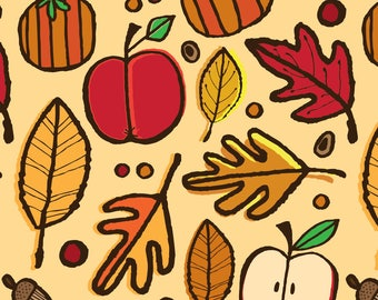 Fall Foliage Fabric - Autumn Leaves (Beige) By Edward Elementary - Apples Pumpkins Leaves Autumn Cotton Fabric By The Yard With Spoonflower