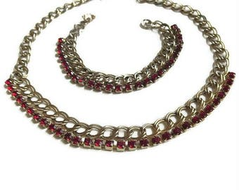 Red Rhinestone Necklace & Bracelet Set Vintage Mid-Century 1950's