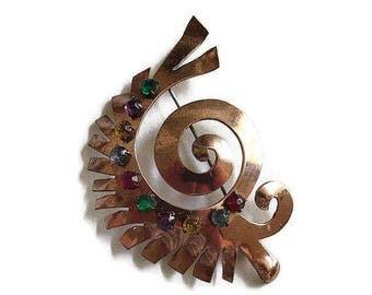 Southwest Copper & Rhinestone Abstract Brooch Vintage