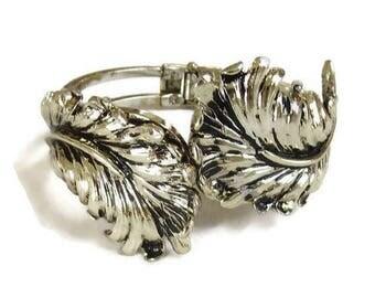 SALE Antiqued Leaf Hinged Clamper Bracelet Vintage