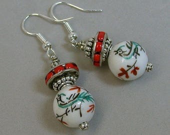 Vintage Chinese Bird Bead WHITE Porcelain Earrings Dangle , Vintage Japanese Red Inlaid Glass Spacer Beads,Silver Ear Wires - GIFT WRAPPED