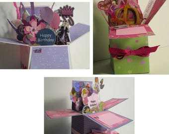 Handmade Birthday Princess Pop Up Exploding Box Card for Young Girl-Free S&H in USA