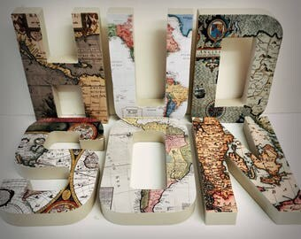 World map letters vintage map letters wood letters gold glitter letters vintage letter antique letter mapamundi letters travel hang letters